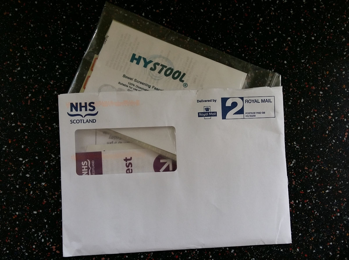 hystool collection kit fits inside nhs bowel cancer envelopes